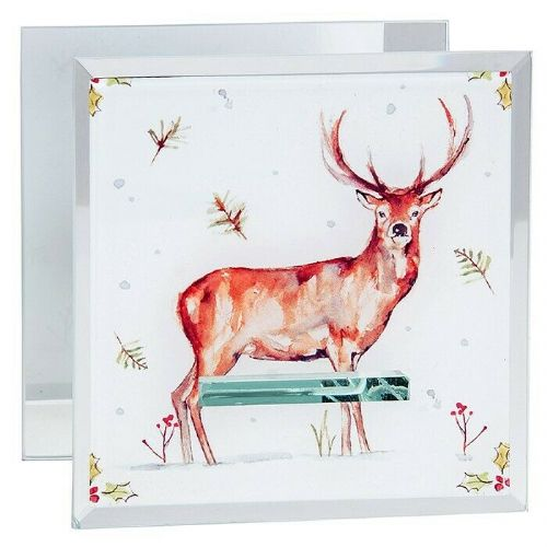 WINTER STAGS TEALIGHT HOLDER